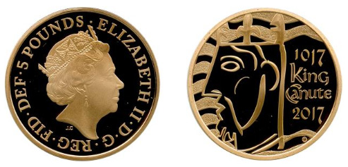 イギリス5ポンド クヌート1世戴冠1000周年記念(2017年:完全未使用品、鋳造数:284枚)