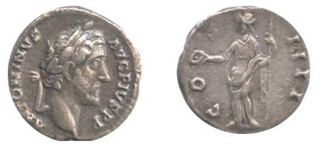 西暦147年、帝政ローマのデナリウス銀貨。表には五賢帝の一人「アントニヌス・ピウス」、裏面には運命の女神「フォルトゥナ」。