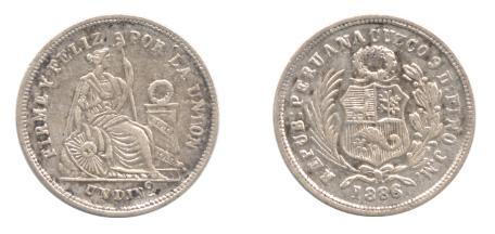 ペルー 1ディネロ銀貨(1868年:希少品)。ほぼ同じデザインで一回り大きい1ソル銀貨は多く見かけるものの、1ディネロ銀貨は珍しい?