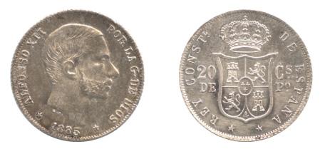 フィリピン 20センティモス銀貨(1885年:準未使用品)。表面には当時の宗主国スペインの国王アルフォンソ12世の肖像