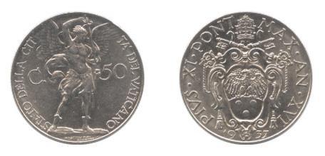 バチカン 50センテシミ通貨(材質:ニッケル、製造:1937年、未使用品)