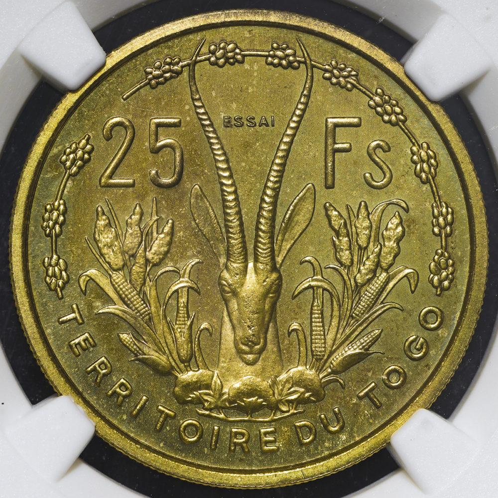 フランス領トーゴ 25フラン(1956年:見本打ち)NGC MS67