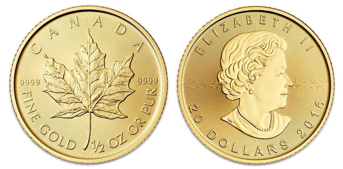 カナダメイプルリーフ金貨(1/2オンス)